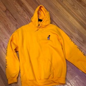 Riot society hoodie (yellow, rose in a can logo)